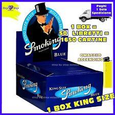 CARTINE SMOKING BLU LUNGHE KING SIZE 1 Box = 50 Libretti OMAGGIO ACCENDINO