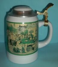 Old Style Lager Limited Edition Beer Stein Pewter Lid Green 1995