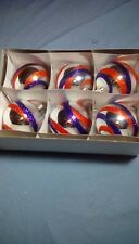 Czech hand crafted large glass Silver Red and Blue Christmas tree ornaments
