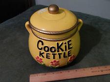 (Vtg.) Retro [COOKIE KETTLE] Yellow/Black/Gold_Japan_Ceramic JAR_CONTAINER Ltd.