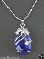 Hot Sell  Solitaire Deep Blue Silver Crystal Pendant With Necklace