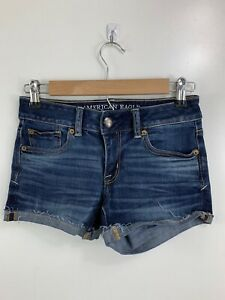 American Eagle SHORTIE Size 0 Cuffed Raw Hem Denim Blue Jean Shorts Pockets