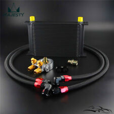 Universal 25 Row Oil Cooler+AN10 Oil Adapter w/Thermostat +Braided Hose Line Kit