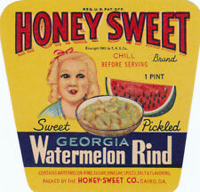 HONEY SWEET Georgia Watermelon Rind Jar Label Honey Sweet Co. Cairo, Ga. 1943