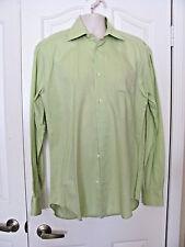 Matteo de Rota Mens Dress Shirt Italy Solid Green Soft 100% Cotton Size 16/41