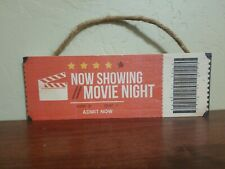 Now Showing Movie Night Ticket Wood Wall Decor