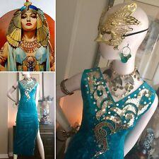 5 PC EGYPTIAN QUEEN Nefertiti Cleopatra Costume Sequined Velvet GOWN Dress MASK