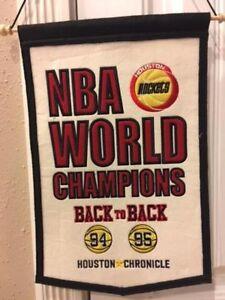 1994 & 1995 Houston Rockets Championship Banner. Duplicate of one hanging Summit