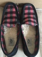 UGG Lasso Red & Black Plaid Moccasins Slippers - Wome's 6, Kids 4