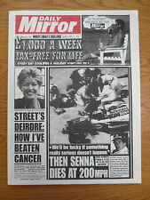 Newspaper MAY 2 1994 Daily Mirror AYRTON SENNA FATAL CRASH Grand Prix Reprint