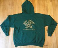 Vintage 90s New Jersey Subway alumni hoodie XL green TRASHED hardcore weird
