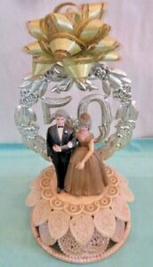 Vintage WILTON 50th Anniversary Wedding Cake Topper Decoration Gold Wedding
