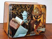 Rare boîte métal ancienne papier à cigarettes JOB à décor de livres et théière