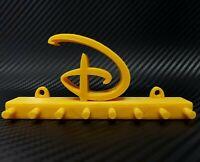 "Disney Key ""D"" Logo Wall Mount Display 7-Peg High Detail 3D Print - Gold"