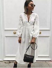 ZARA 2017 beige écru brodée florale longue robe tunique S