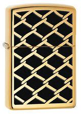 Zippo High Polish Brass Fence Pattern Windproof Lighter 28675 New