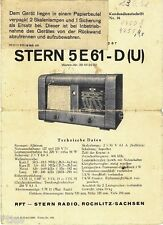 RFT Stella radio Rochlitz manuale d'uso Stella 5e61 D (U) 1957