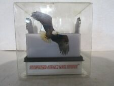 "SCULPTURED ACRYLIC EAGLE 3x3"" STICKY NOTES HOLDER, WITH 3 100-SHEET PADS"