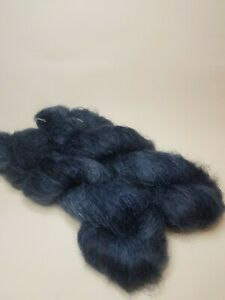 Hand dyed Mohair Wool yarn, DK weight, 50g, BLUED STEEL