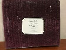 New Pottery Barn Monique Lhuillier Velvet Channel King Pillow Sham Eggplant Nwt