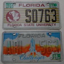 """2 Nummernschilder USA """"Florida State University + Challenger"""". 13187."""