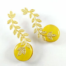 Exclusive !! Chalcedony Gemstone Gold Plated Indian Dangle Bollywood Earrings