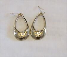 Gold Plated Dangle Drop Fashion Earrings With Clear Crysta; Stones USA Seller
