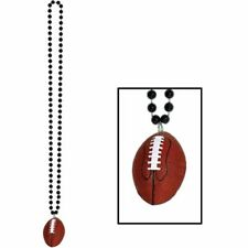 "Black Beads w/Football Medallion 33"" Football Birthday Party Decorations Favors"