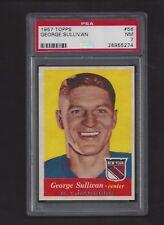1957 Topps #56 George Sullivan, PSA 7 NM, Vintage NY Rangers NHL Hockey 1957-58