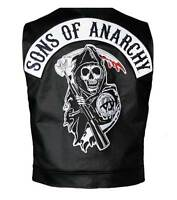 Men's Genuine Leather SOA Sons of Anarchy Real Leather Vest - BNWT