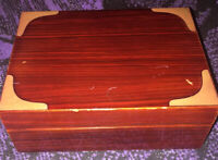 VTG Handmade Wooden Decorative Playing Card Box Organizer w/2 Decks of NEW Cards