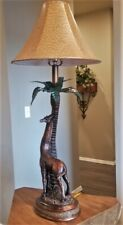 """Maitland Smith 32"""" Giraffe Palm Tree Frond Table Lamp Leather Shade 2 Available"""