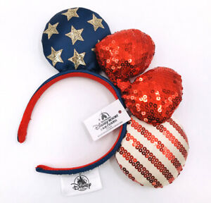 Bow Minnie Ears Stars American Flag Disney Parks Sequins Mickey Mouse Headband