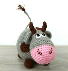 Crochet Cow Handmade Toy Plush Cow Stuffed Farm Animals Christmas Cow Ornaments