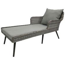 Chaises longues de jardin et de terrasse gris en rotin