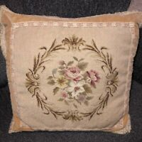"French Aubusson Needlepoint Petit Point 20"" Sq Pillow Rose Floral Beige Velvet"
