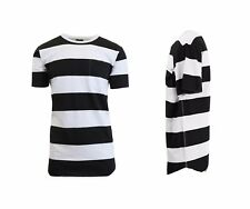 Mens Short Sleeve Tee Striped Cotton Washed Crew Neck T Shirt Lounge Fashion NWT