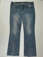 Silver Boot Cut Distressed Womens Medium Wash Stretch Blue Jeans Plus 16 / L33