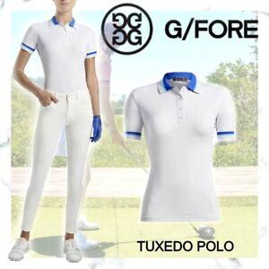G/Fore Tuxedo Polo Top Snow/Lapis NWT M L XL Womens Golf Shirt GFore