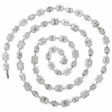 Emerald Cut Long Diamond Illusion Set Necklace and Bracelet Set