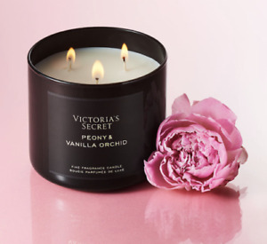 NWT NEW VICTORIA SECRET PEONY & VANILLA ORCHID 3-WICK FRAGRANCE CANDLE 14.5 oz