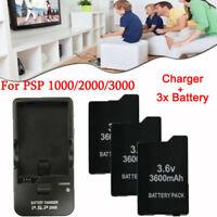 LOT 3.6V 3600mAh Battery + Wall Charger for Sony PSP 2000 2001 1000 3000 Series
