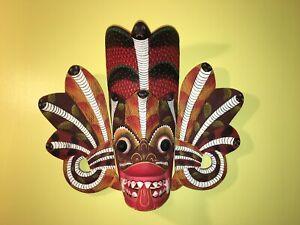 "12"" Wooden Mask 3D Indonesian wall plaque Fire Cobra Snake Head dragon Face"