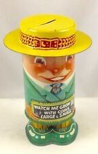 WATCH ME GROW TALL  VINTAGE APEX NOVELTY MECHANICAL TIN BANK USA