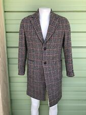 NWT ZARA MAN Brown multi textured plaid coat long sleeves ITALIAN FABRIC Size S