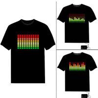 Unisex Sound Activated Light Up Flashing Rock Disco Equalizer LED T-Shirt Top