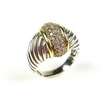 DAVID YURMAN 18ct YELLOW GOLD AND SILVER DIAMOND DOME RING