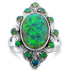 GREEN LAB FIRE OPAL ANTIQUE VICTORIAN STYLE 925 STERLING SILVER RING SIZE 9,#235