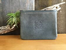 LOEWE Leather Zip Pouch Cosmetic Case Bag Green/Brown