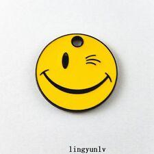 20pcs Orange Enamel Alloy Smile Face Charms Pendant Jewelry Findings 51388